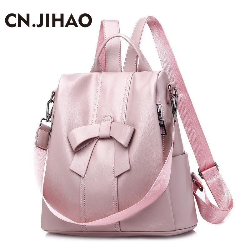 592ede65a664 JI HAO Fashion Backpack Women PU Leather School Bags Girls Bow Travel  Backpack Lady Zipper Student Bookpack Cute College Bag Back Packs Rolling  Backpacks ...