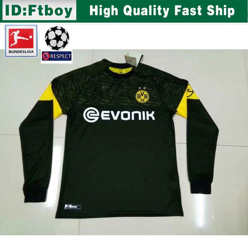 newest 2cca0 49c17 18 19 Dortmund REUS away Jerseys 2018 2019 SCHURRLE PISZCZEK PULISIC  AUBAMEYANG soccer jersey MKHITARYAN HUMMELS long sleeve sport shirt