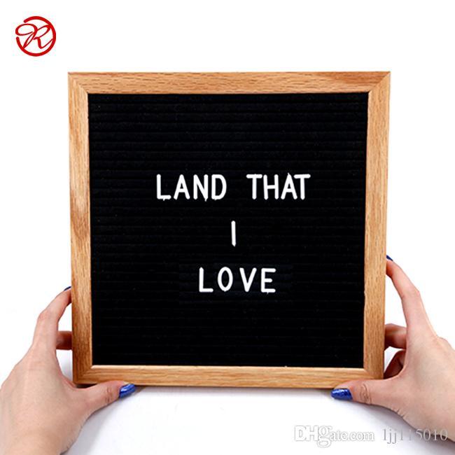 Changeable Letter Menu Board With Oak Frame, Black Felt, 10x10 ...