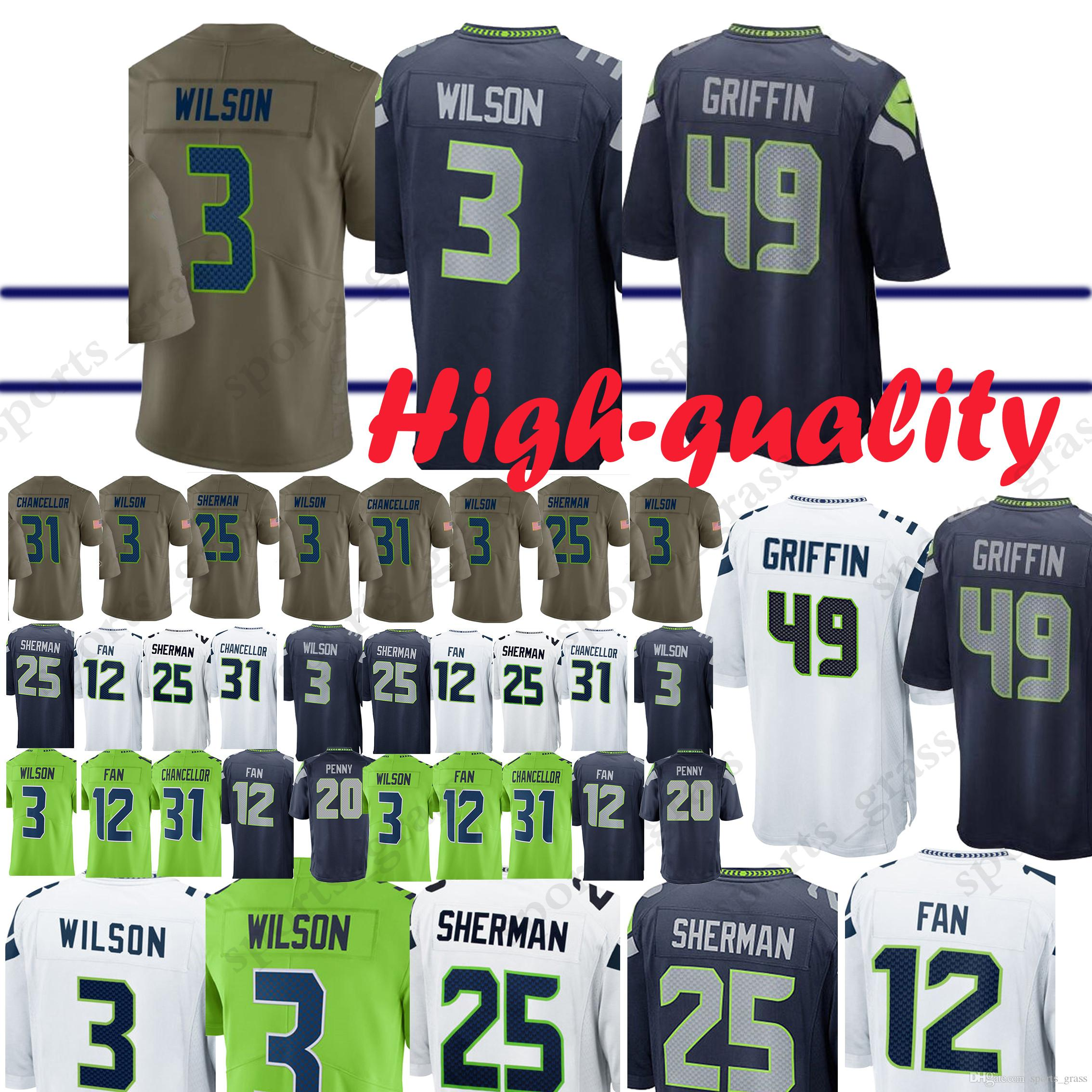 new styles 84d24 83d30 Seattle Seahawk Jerseys 49 Shaquem Griffin 20 Rashaad Penny 3 Russell  Wilson 12 Fan 29 Earl Thomas 31 Kam Chancellor Jersey Adult shirt
