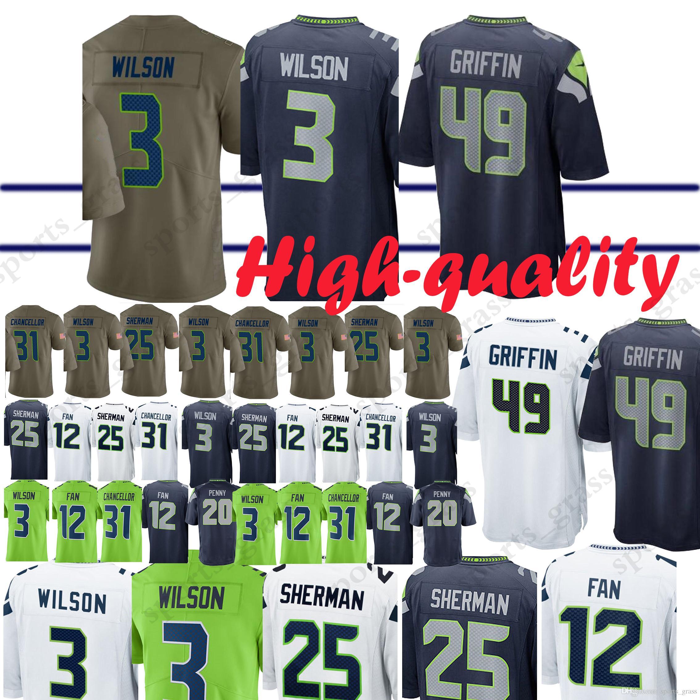new styles 08527 da63f Seattle Seahawk Jerseys 49 Shaquem Griffin 20 Rashaad Penny 3 Russell  Wilson 12 Fan 29 Earl Thomas 31 Kam Chancellor Jersey Adult shirt