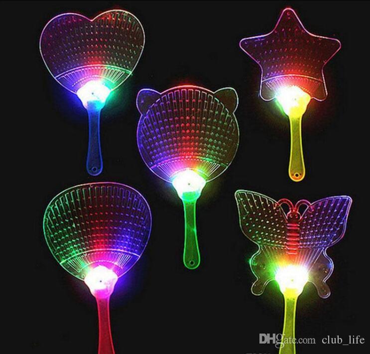 Mode LED Chinois Ventilateur À Main En Plastique Coloré Lumineux Clignotant Enfants Jouets Costume Parti Décoration Publicité Cadeau FD5494
