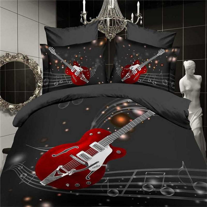 3d Fashion Music Notes Bedding Set Black Red Guitar Quilt Duvet