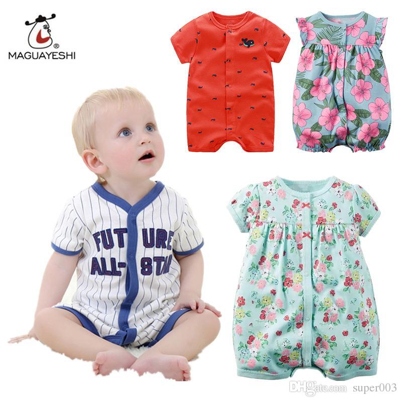 Summer Brand Baby Girl Clothes Kids Jumpsuits Infant Boy Body Suit Clothing  Roupas Bebes Cotton Short Sleeve Baby Rompers Online with  3.59 Set on ... 261724a01b2