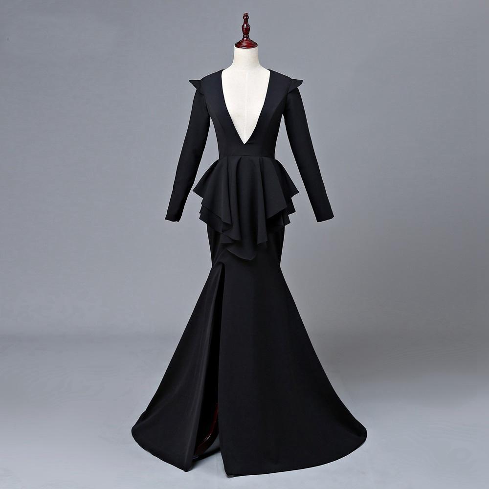 af6b2456d830f GiayMus Long Evening Dress 2018 Deep Neck Long Sleeve Vestidos De Festa  High Slit Backless Floor Length Black Mermaid Women Evening Gowns