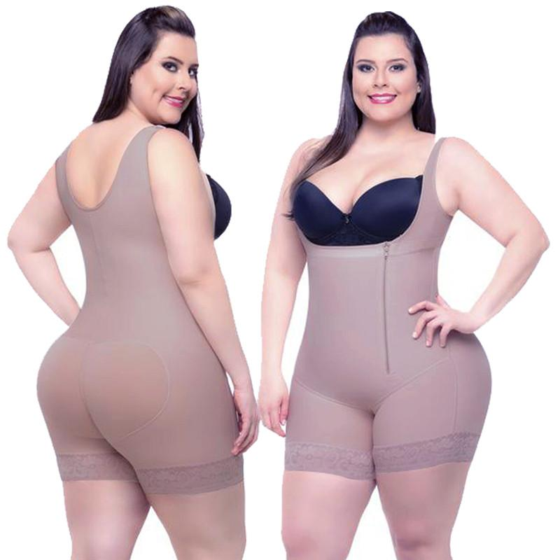 138d0ffd5cf Plus Size 6XL Hot Latex Women s Body Shaper Post Liposuction Girdle Clip  Zip Bodysuit Vest Waist Shaper Reductoras Shapewear