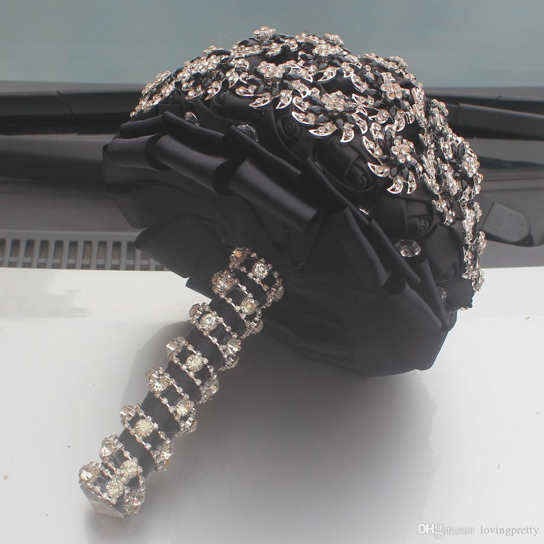 JaneVini Luxurious Bridal Bouquets For Wedding 2018 New Black Crystal Beaded Bride Flowers Brooch Bouquet Boeket Kunstbloemen Buque De Noiva