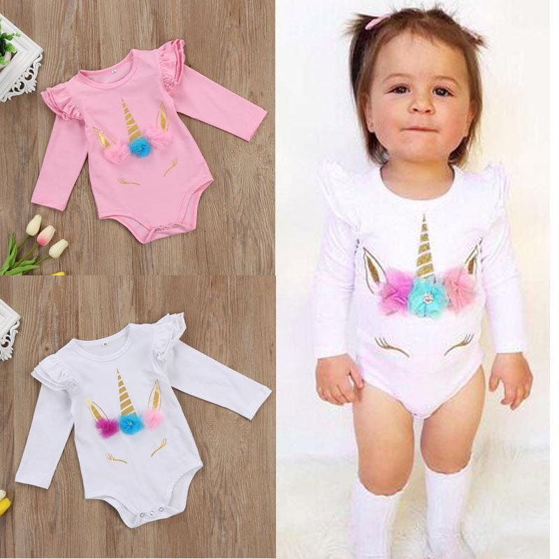 7e0158b00300 Unicorn Baby Girl Romper Cotton Kid Jumpsuit Clothing Pink White Long Short  Sleeve Body Suit Ruffle Sleeve Cute Girls Toddler Rompers Suits Unicorn Baby  ...