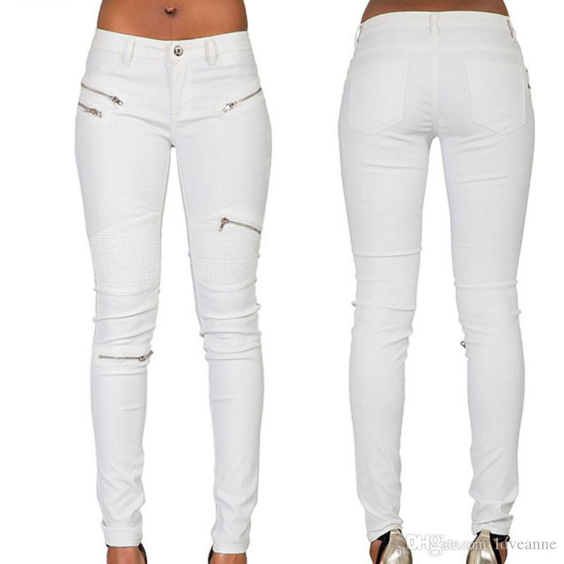 2019 Women S New Sexy White PU Leather Coated Denim Pants Women Multi  Zipper Cool Jeans Hot Tight Pants Trousers Female From Loveanne b42e4bd5ab