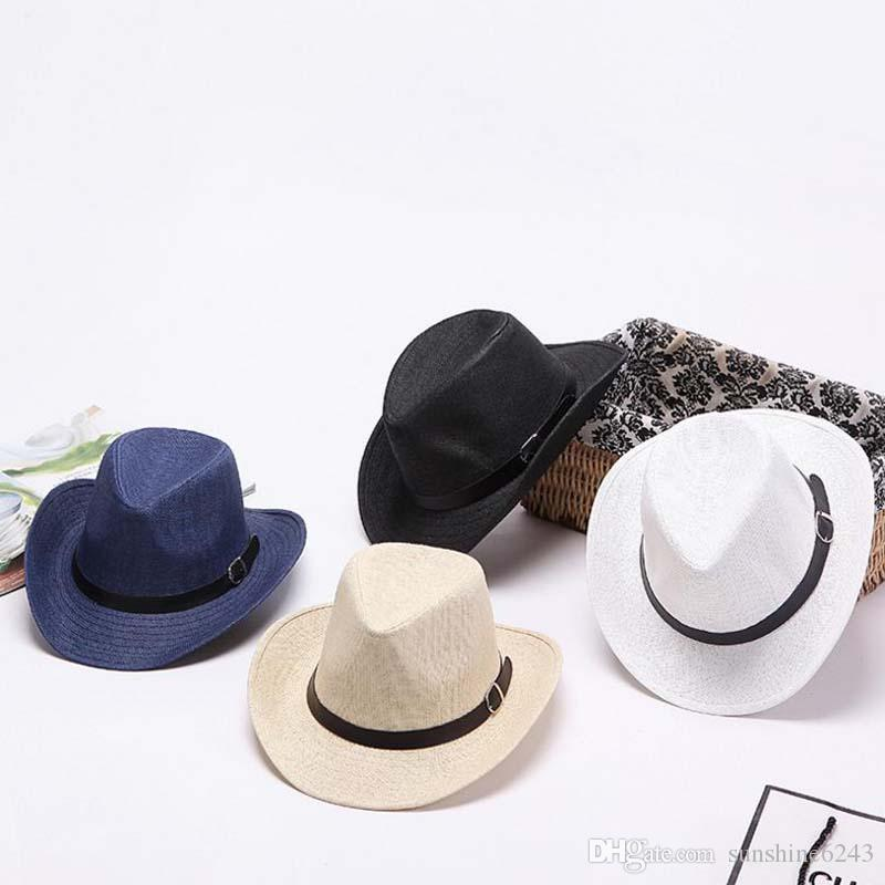 cac954bcf7d7b Wholesale summer Lady Men sunshades sun caps Round Flat Top straw hat  outdoor western cowboy hat men's beach hat