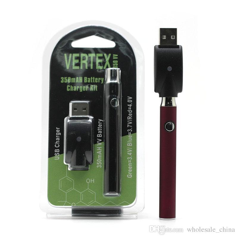 Vertex Co2 VV Pré-aqueça bateria Kits LO Bateria Co2 Oil vaporizador O Pen 510 Vape Pen Pré-aquecimento Baterias 350mAh BOGO Ce3 Cartridge