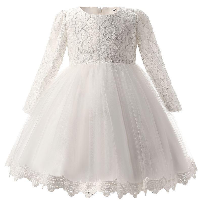 2b480fb17c9e1 White Christening Baby Girl Dress Wedding Long Sleeve 1 year birthday  Newborn Princess Dresses Infant Tutu Dress Girl clothes