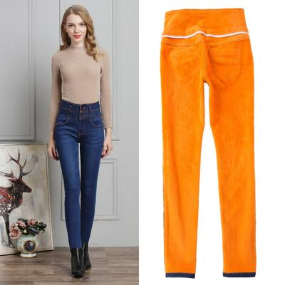 ea617a4e594 Compre 2018 Winter Plus Velvet Jeans De Mediana Altura Pantalones Slim Black  Feet Stretch Plus Cotton Warm Pencil Pantalones A $38.22 Del Liangcloth ...