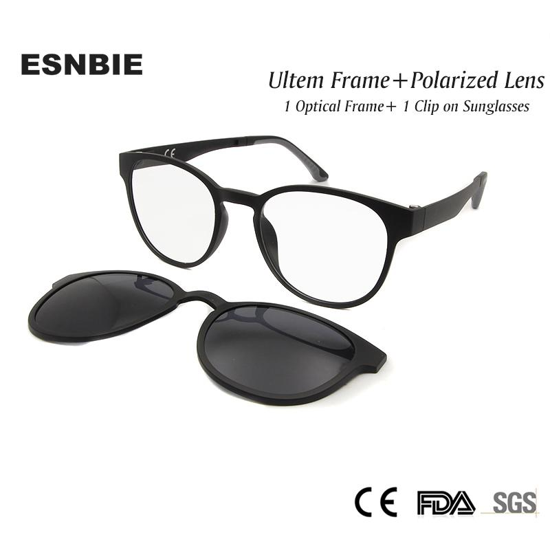 85096728c3 2019 ESNBIE Ultem Polarized Clip On Sunglasses Magnetic Frame ...