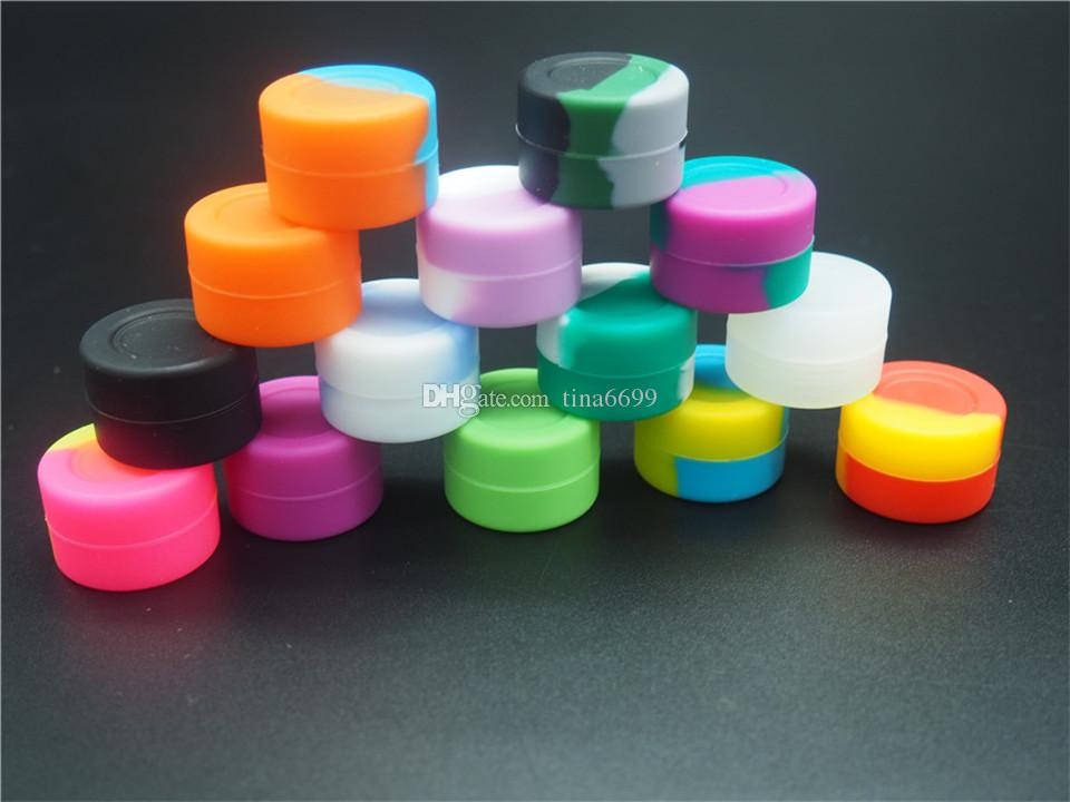 Récipient de jar de silicone de silicone neutre réutilisable 3 ml pour la cire E-cig BHO huile BUTANE Vaporisateur Silicon Pors DAB Caseur de cire