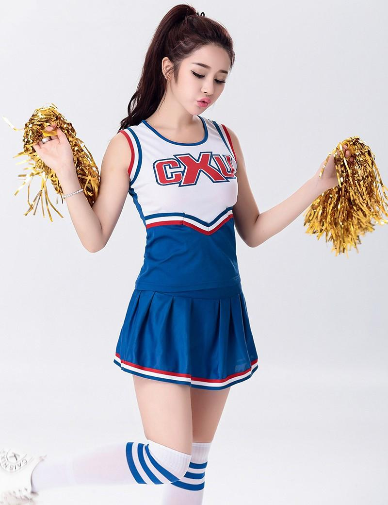 ab4b8028699 Sexy High School Cheerleader Costume Cheer Girls Uniform Costume Tops With  Skirt S M L XL 2XL