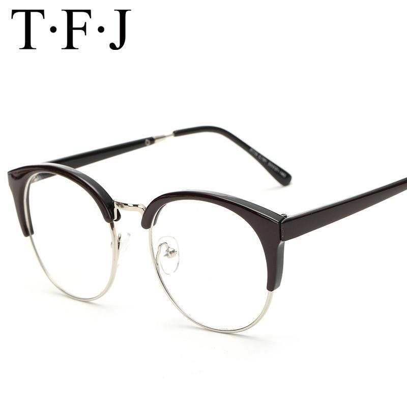 41b272ddd93c 2019 New Round Cat Eye Glasses Women Men Transparent Clear Metal Full Rim  Frame Optical Spectacles For Men Fake Eyeglasses Women From Ylingnei