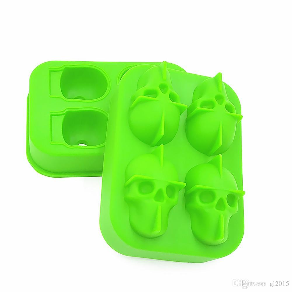 Mutli Colors Skull Shape 3D Ice Cube Mold Maker Bar Party Silicone Trays Chocolate Mold Gift Ice Cream Tools