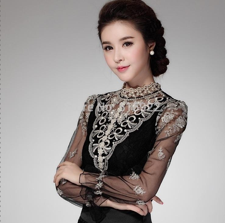 2019 2018 New Hot Crochet Long Sleeve Shirts Vintage Women Blouses Chiffon  Chemise Femme Women Lace Tops Blusas Femininas 980F58 From Lin and zhang 7eeab30966ad