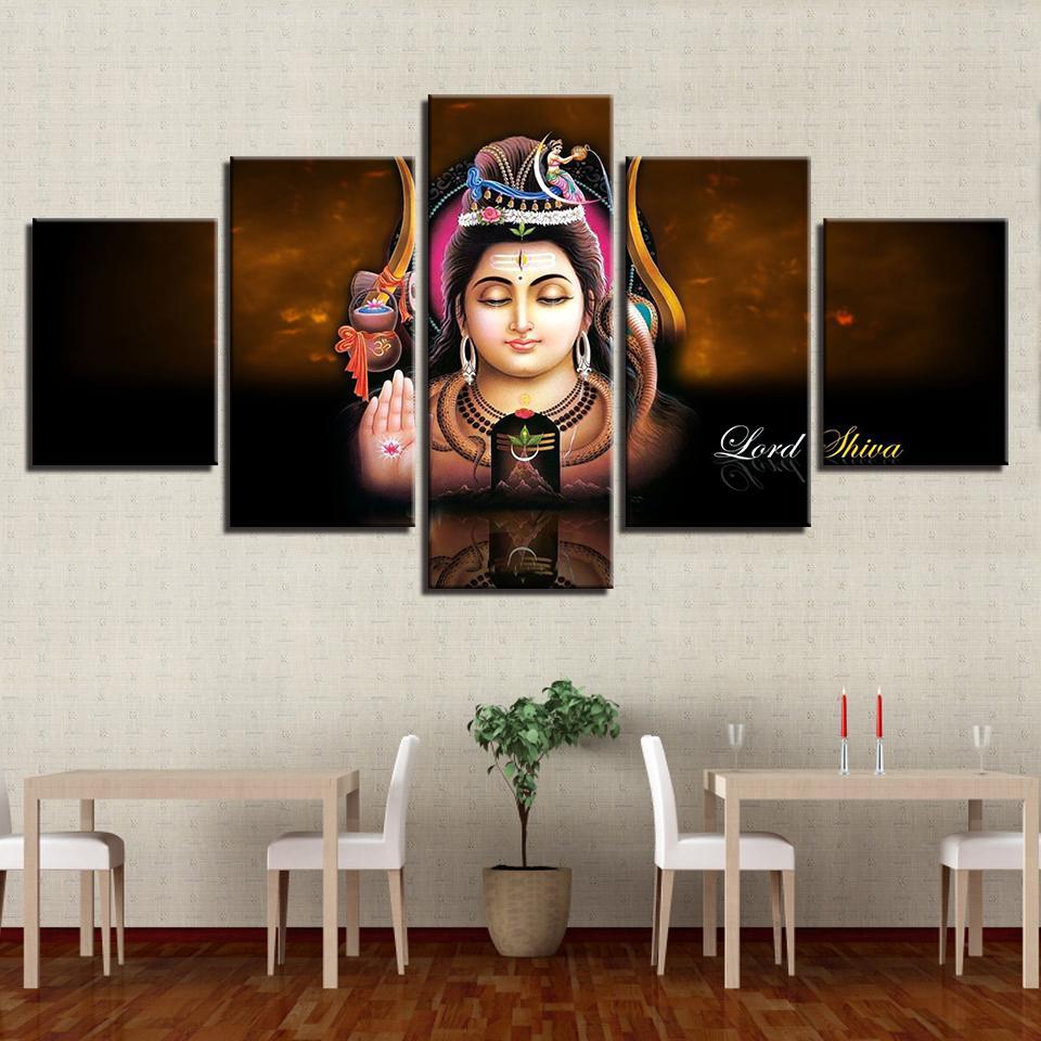 grosshandel leinwand gemalde wandkunst rahmen 5 stucke lord shiva poster modulare hd prints hindu gott bilder dekoration fur wohnzimmer von z793737893