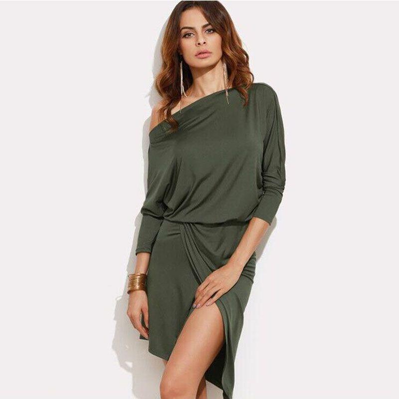 Autumn Dress 2018 Women Streetwear Asymmetrical Diagonal Collar One Shoulder  Strapless Sexy Sweet Female Dresses CLothes Little Black Dresses One  Shoulder ...