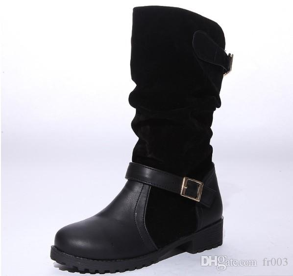 9a5e8f4993c Fashion Suede Leather Boots For Women Faux Suede Flat Mid Calf Boots Women  Boots Casual Shoes 34 43 Knee High Boots Riding Boots From Fr003