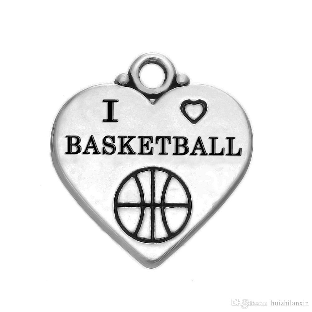 30 шт. мода Шарм Тибетский серебряный сплав кулон ювелирные изделия письмо Я люблю баскетбол DIY ожерелье кулон ювелирные изделия аксессуары