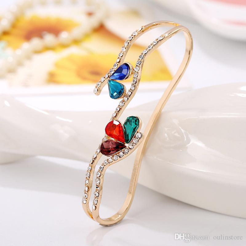 Colorful Crystal Rhinestone Water Drop Flowers Palm Bracelet Bangles Women Palm Ring Wedding Bridal Fashion Jewelry