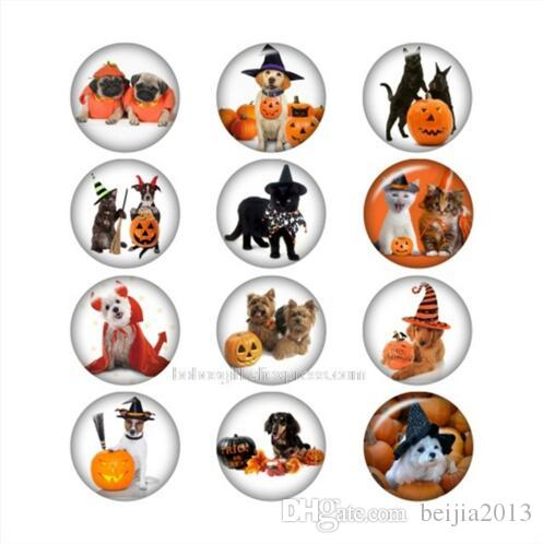 New Halloween Dog cat glass snap button for snaps jewelry Round DA1054 jewelry making DIY Findings