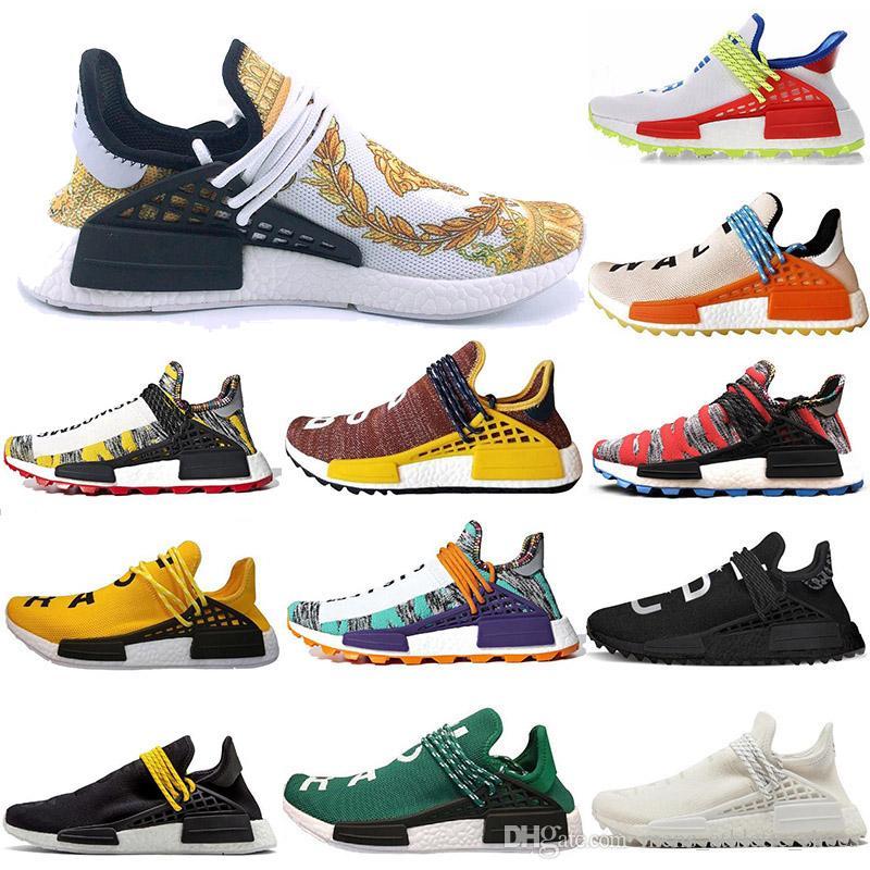 official photos fc541 54c09 Compre Adidas Zapatillas De Deporte Nmd Human Race De Lujo Paquete Solar  Calcetines Pharrell Negro Amarillo Mujer Hombre Zapatillas De Diseñador  NERD Sol ...