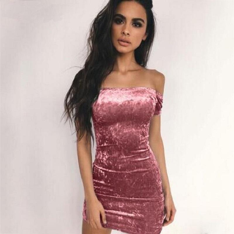 57ae05fe3a Sexy Slash Neck Strapless Bodycon Dress Women Off Shoulder Velvet Mini Dress  Pencil Party Dresses Vestidos Feminino Dress Shirt Corset Dress From  Feeling08