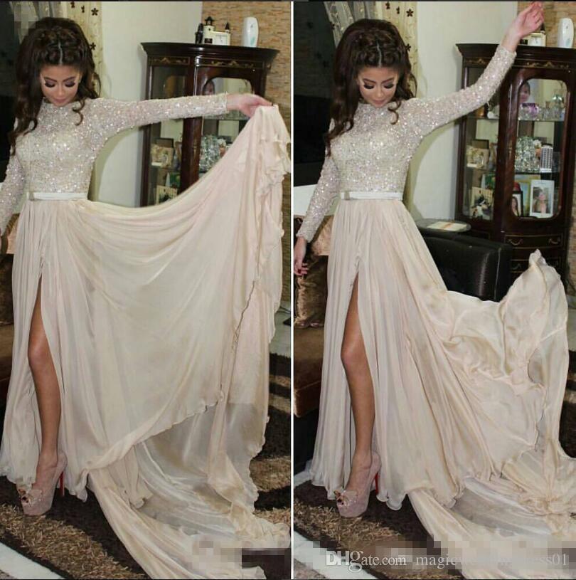 Sparkly High Split 2018 Вечерние платья на арабском языке с длинным рукавом с круглыми рукавами и блестками шифоновые платья выпускного вечера