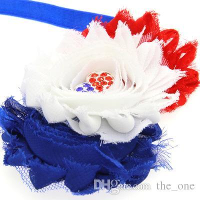Pretty Baby Girls Diamante Flores Diademas Red Blue Rayas de encaje Arcos del pelo Fiesta Infantil Día de la Independencia de Estados Unidos Accesorios para el cabello