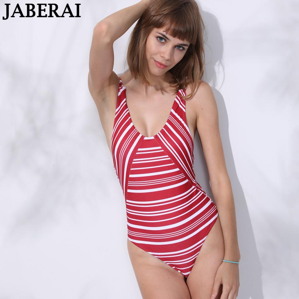 35e82c6ec7 JABEARI Red Striped One Piece Swimsuit Backless Swimwear Women Sexy ...
