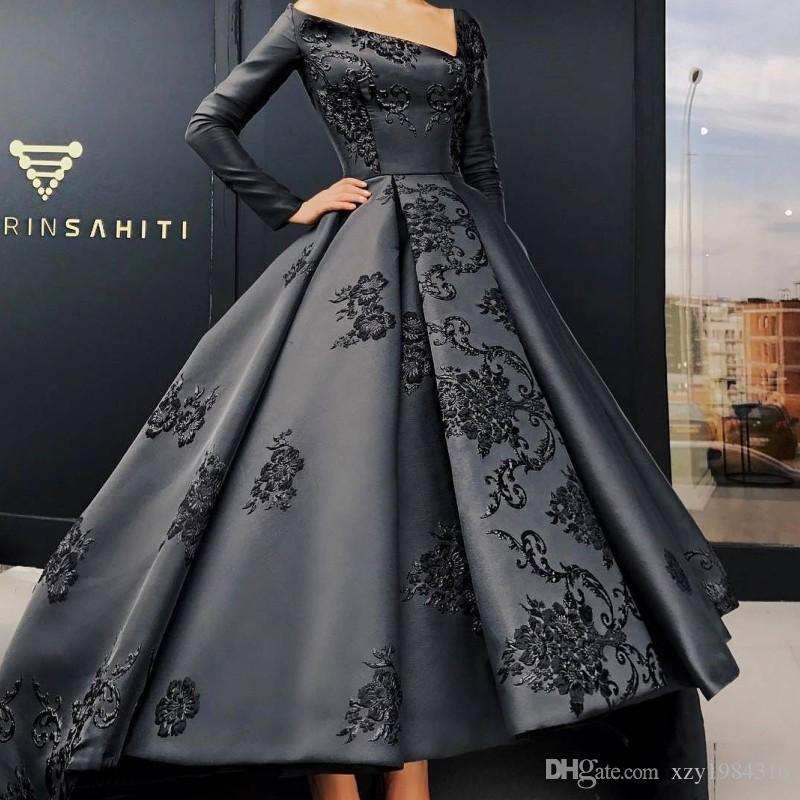 5c11e1fbcc7 Elegant Long Sleeve Evening Gown Unique V Neck Embroidery Applique Satin  High Low Prom Dresses Custom Made Saudi Arabia Formal Party Dresses Girls  Prom ...