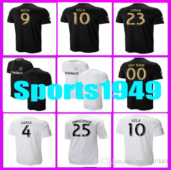 c32f14b3d 2019 Rugby 2018 2019 Jersey LAFC Carlos 10 Vela GABER 9 ROSSI CIMAN  ZIMMERMAN 18 19 Los Angeles Fc Home Away Jerseys From Sports1949