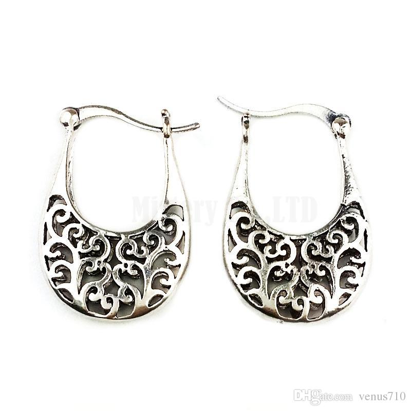 32a455a1fe Wholesale- Ethnic Antique Tibetan Silver Color Hollow Out Plant Hoop  Earrings Vintage Jewelry Jewellery Gift For Women Girls