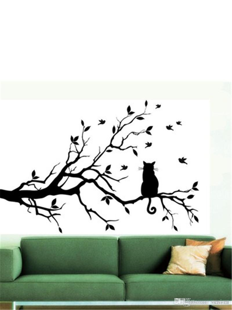 Wholesale Cat On Long Tree Branch DIY Vinyl Wall Sticker Decals Wall Art Mural Home Decor Window Kitchen Wallpaper