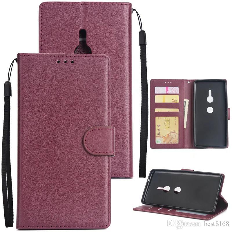 Caso de luxo para sony xperia l2 xz2 xa2 ultra compacto de couro liso carteira de identificação slot para cartão de aleta capa stand rosa ouro bolsa de livro cinta
