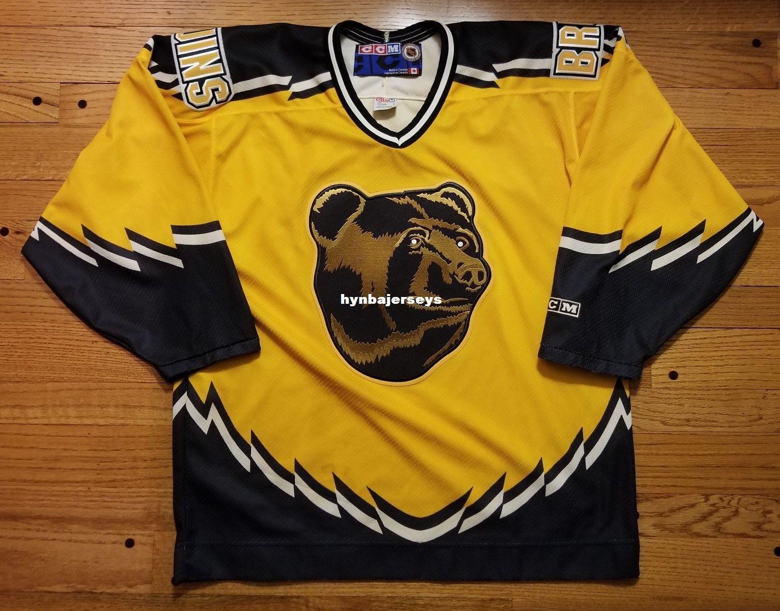79ec608edbe ... top quality 2019 custom boston bruins vintage ccm cheap hockey third  jersey yellow pooh bear mens