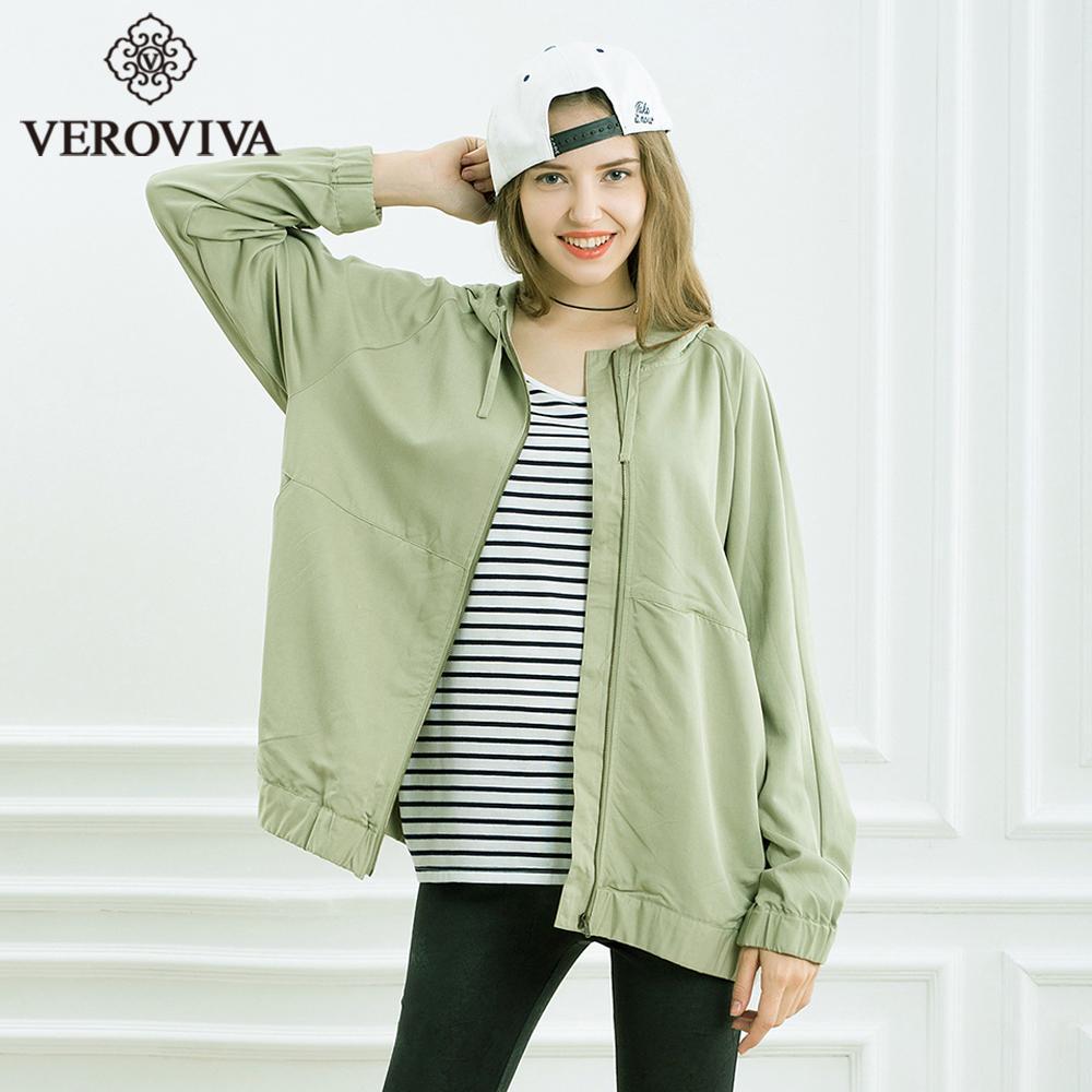 d764219a30 Compre VEROVIVA Outono Exército Básico Verde Jaqueta Mulheres Ykk Zipper  Com Capuz De Bolso Regular Outwear Moda Casaco Solto Casual Feminino De  Easme