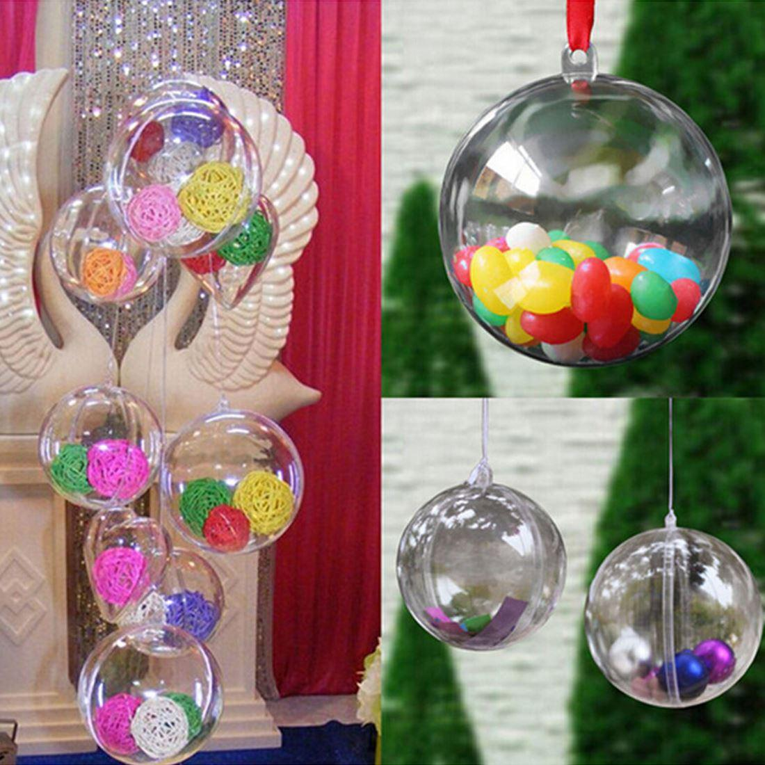 Lovely Clear Candy boxes Romantic Design Christmas Decorations Ball Transparent Can Open Plastic Christmas Clear Bauble Ornament
