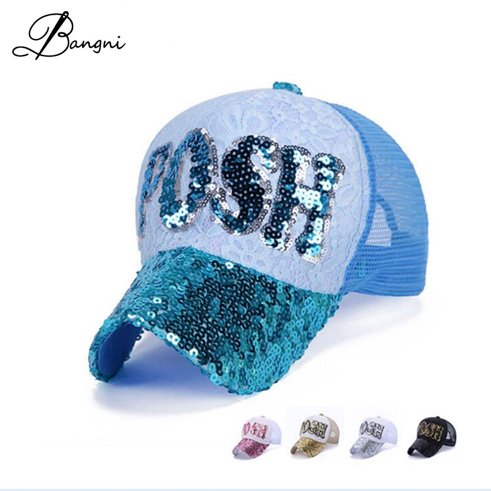 Fashion Women Sequins Lace Baseball Cap Posh Girls Mesh Hat Casquette Snapback  Gorras Outdoor Sun Hats Hip Hop Cap Wholesale Hop Cap Lace Baseball Cap ... fdec01a5a55c