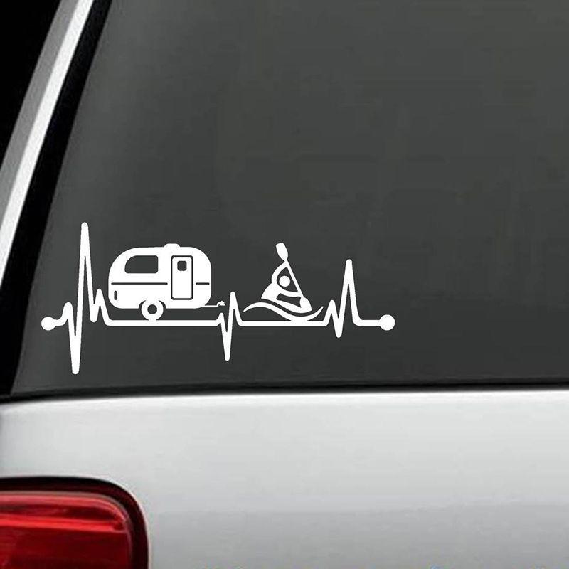 2018 camper travel trailer kayak heartbeat decal sticker tent hiker camper art rear window car sticker from xymy797 3 52 dhgate com