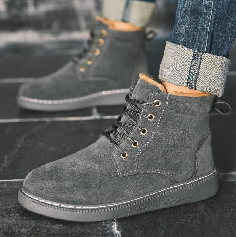 6d4d41e24 2019 New Faux Suede Leather Men Boots Spring Autumn and Winter Men Shoes  Ankle Boot Men s Snow Shoe Work Plus Size 39-44
