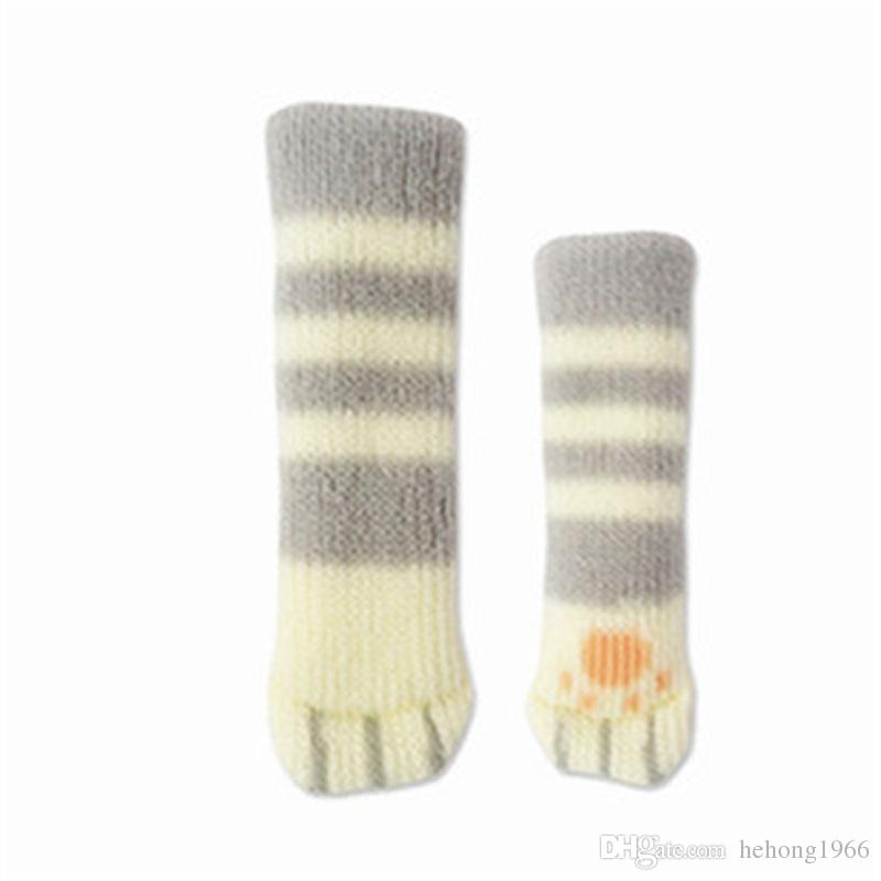 Table Foot Sleeve Chairs Legs Cover Cat Claws Knitting Double Deck Stool Cartoon High Elastic Rubber Furniture Accessories 0 99qh V