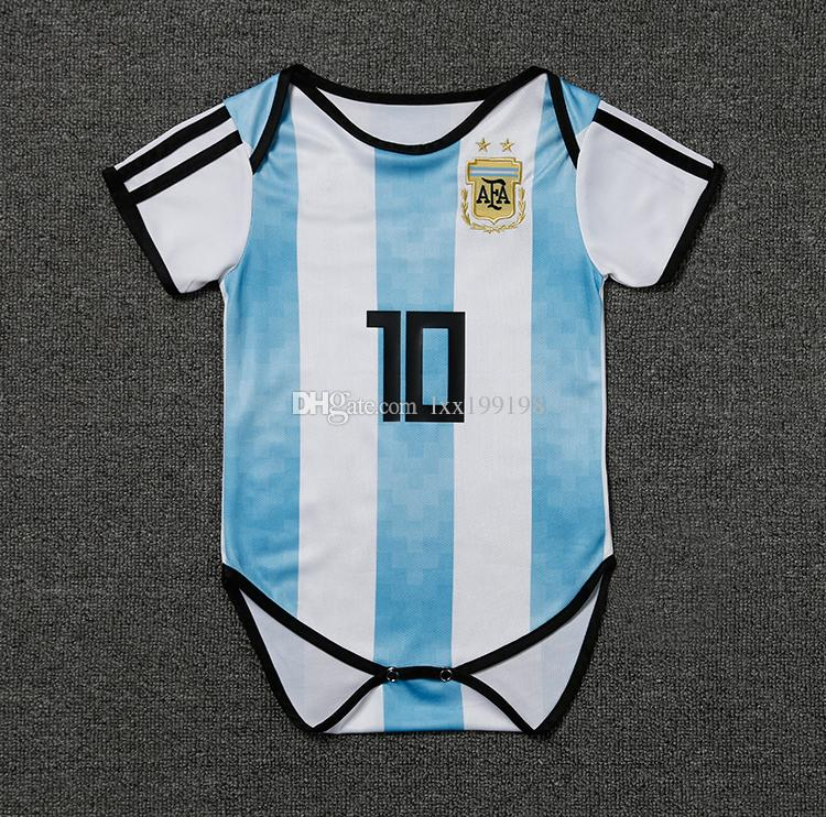 on sale b11ef f77bf Ensemble Football Homme 2018 Baby Kids Kit Argentina Soccer Jersey World  Cup Infant 10 Messi Football Clothes 9-18 Months Shirt Uniforms