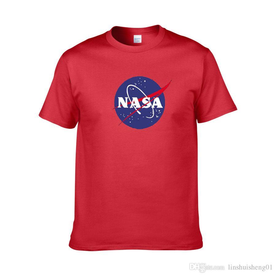 NASA логотип печати футболка мужская Новое Лето с коротким рукавом хлопок мужчины футболка Марка дизайнер повседневная фитнес одежда топы тройники