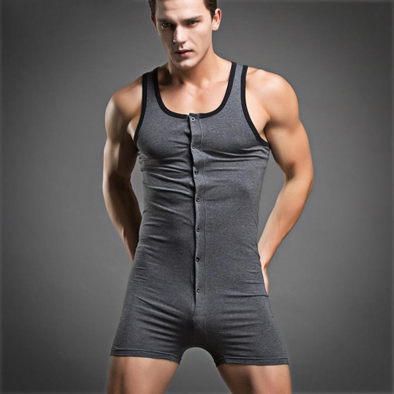 d73b2774fd3a8 2019 Mens Sleepwear One Piece Cotton Underwear Men Compression Sleeveless  Quick Dry Sexy Body Shaper Male Set From Bunnier