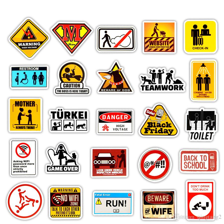 Waterproof Warning Slogan Stickers Road Reminder Sign Toys